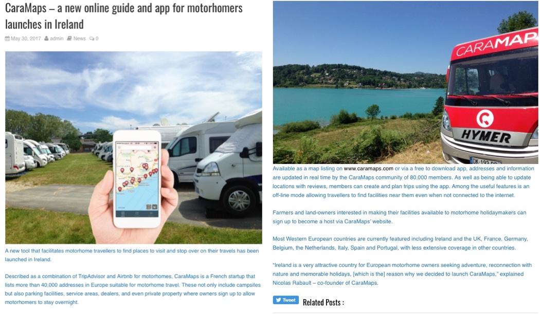 Caramaps - Motorhome directory : campsites, service Areas, farms