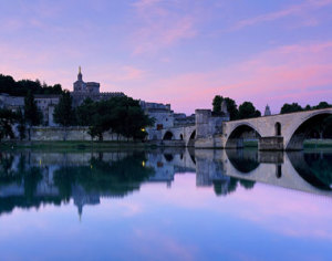 Avignon from Rhone River Provence, France