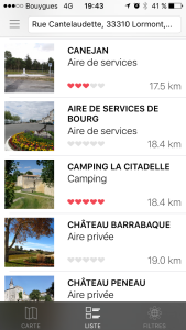 application camping-car liste