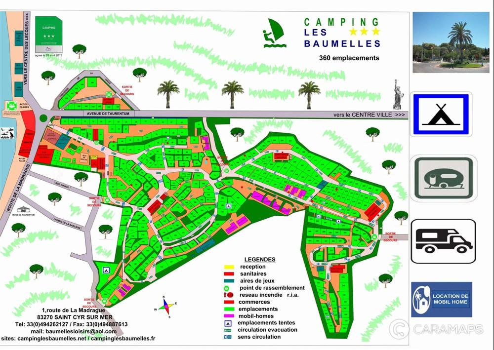 D couvrez camping les baumelles une tape caramaps - Office du tourisme saint cyr sur mer ...